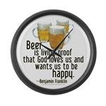 Beer is Proof Franklin Large Wall Clock