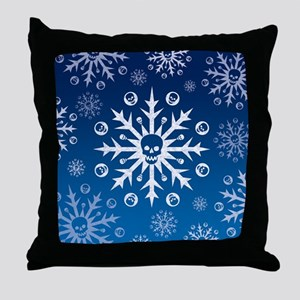 Skullflake (blue) Throw Pillow