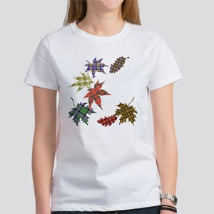 Tartan Autumn Leaves Women's T-Shirt