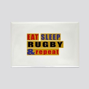 Eat Sleep Rugby And Repeat Rectangle Magnet