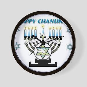 Happy Chanukah Menorah Wall Clock