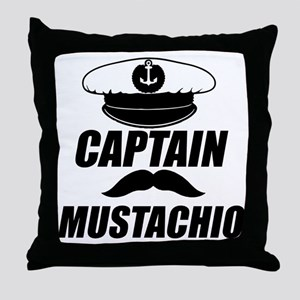 Capt Mustachio Throw Pillow