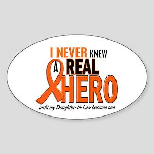 Never Knew A Real Hero 2 ORANGE Oval Sticker