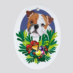 Bulldog Dog Christmas Oval Ornament