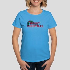 Merry Christmas Holly Women's Dark T-Shirt