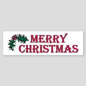 Merry Christmas Holly Bumper Sticker
