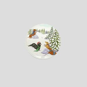 Snowball Fight Dachshunds Mini Button