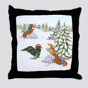Snowball Fight Dachshunds Throw Pillow