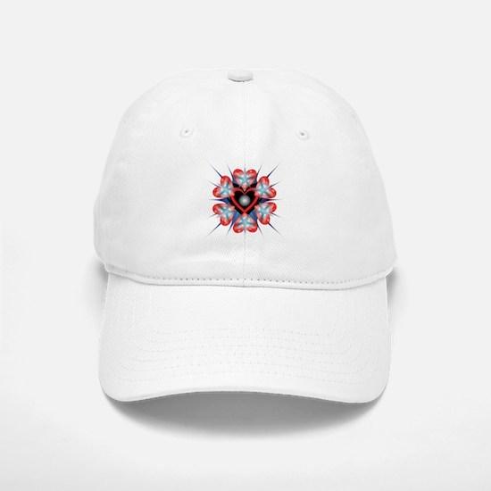 Blue Star with Heart Baseball Baseball Cap