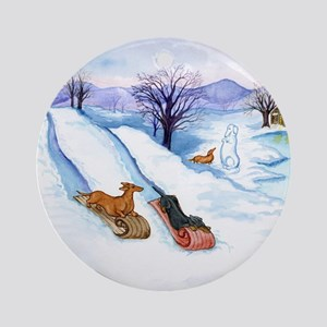 Sledding Dachshunds Ornament (Round)
