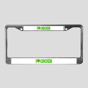 I Love-Alien Chicken License Plate Frame