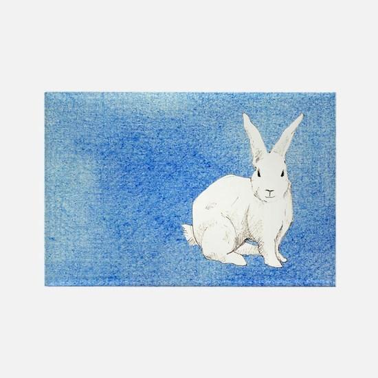 Rabbit Blue Rectangle Magnet