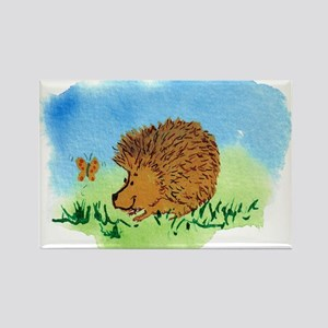 Hedgehog and Butterfly Rectangle Magnet