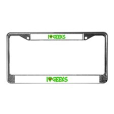 I Love-Alien Geeks License Plate Frame