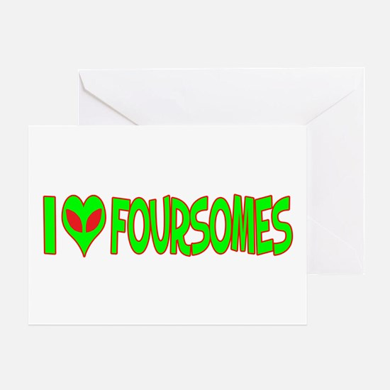 I Love-Alien Foursomes Greeting Card