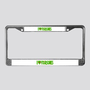 I Love-Alien Foursomes License Plate Frame