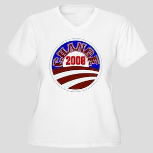 Barack Obama -- Change 2008 Women's Plus Size V-Ne