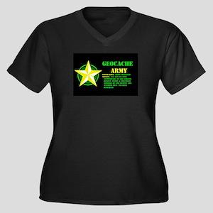 Geocache Army Women's Plus Size V-Neck Dark T-Shir
