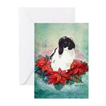 Rabbit in Poinsettia Greeting Cards (Pk of 10)