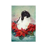 Rabbit in Poinsettia Rectangle Magnet