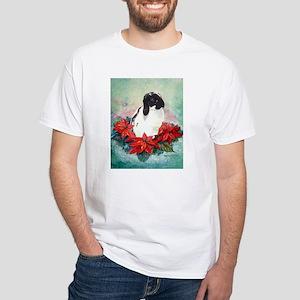 Rabbit in Poinsettia White T-Shirt