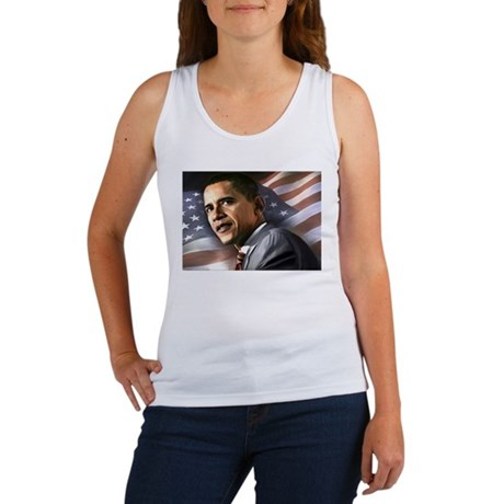 Flag Background with Obama Women's Tank Top