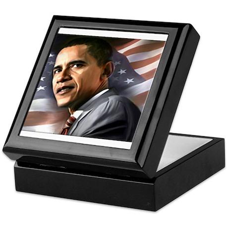 Flag Background with Obama Keepsake Box