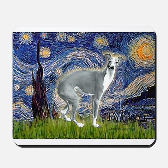 Starry Night/Italian Greyhoun Mousepad
