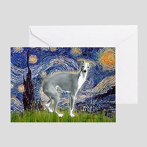 Starry Night/Italian Greyhoun Greeting Card