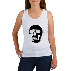 Black and White Goth Skull Women's Tank Top
