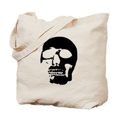 Black and White Goth Skull Tote Bag
