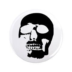 "Black and White Goth Skull 3.5"" Button"
