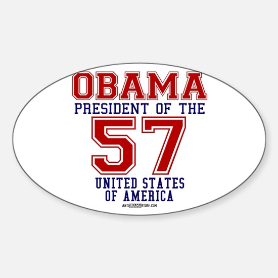 """Obama """"57 States"""" Oval Decal"""