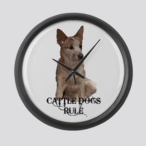 Cattle Dogs Rule Large Wall Clock