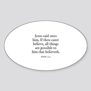 MARK 9:23 Oval Sticker