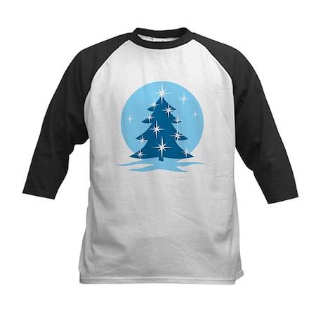 Blue Christmas Tree Kids Baseball Jersey