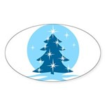 Blue Christmas Tree Sticker (Oval 50 pk)
