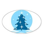 Blue Christmas Tree Sticker (Oval 50 pk)