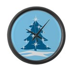 Blue Christmas Tree Large Wall Clock