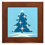 Blue Christmas Tree Framed Tile
