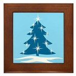 Blue Christmas Tree Framed Tile