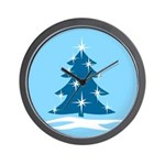 Blue Christmas Tree Wall Clock