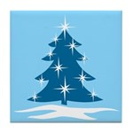 Blue Christmas Tree Tile Coaster