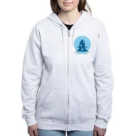 Blue Christmas Tree Women's Zip Hoodie