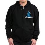 Blue Christmas Tree Zip Hoodie (dark)