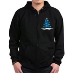 Blue Christmas Tree Zip Hoodie (dark)