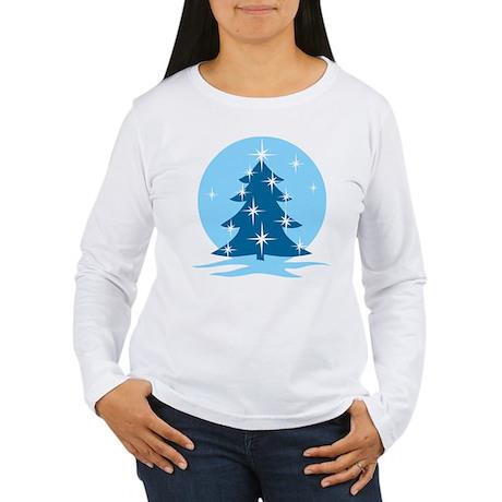 Blue Christmas Tree Women's Long Sleeve T-Shirt