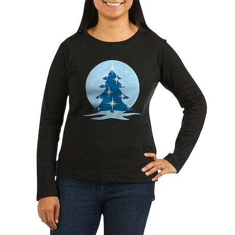 Blue Christmas Tree Women's Long Sleeve Dark T-Shi