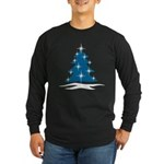 Blue Christmas Tree Long Sleeve Dark T-Shirt