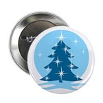 "Blue Christmas Tree 2.25"" Button"